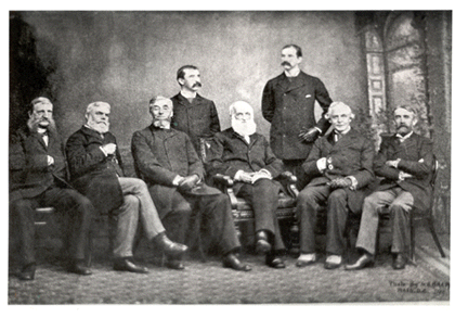 Executive officers of the American Historical Association at the time of the Association's incorporation by Congress, photographed during their annual meeting on December 30, 1889 in Washington Seated (L to R) are William Poole, Justin Winsor, Charles Kendall Adams (President), George Bancroft, John Jay (Died 1829?), and Andrew Dickson White, Standing (L to R) are Herbert B. Adams and C. W. Bowen. This photo appeared in the February 1890 issue of the Magazine of American History. The Photographer was from M.B. Brady Studio.