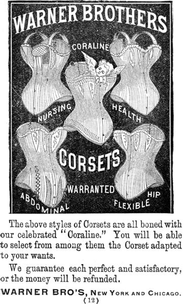 Advertisement for Warner Brothers Coraline Corsets. Photo: Wikimedia Commons