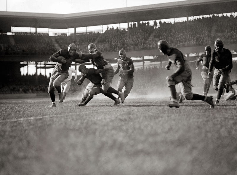 Georgetown University playing American football against the Quantico Marines at Griffith Stadium (now demolished) in Washington, D.C. The Quantico Marines football program began in 1919 and lasted until 1973. Photo: National Photo Company via Wikimedia Commons