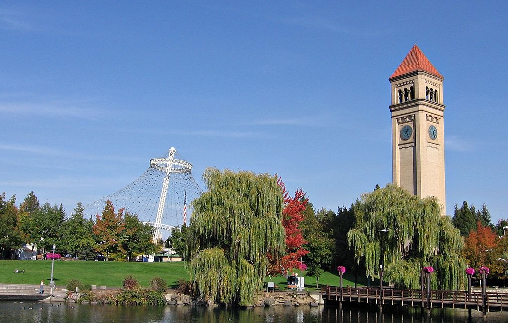 The Great Northern Railway Depot clock tower and United States Pavillion in Spokane's Riverfront Park. Photo: Mark Wagner (User:Carnildo) via Wikimedia Commons