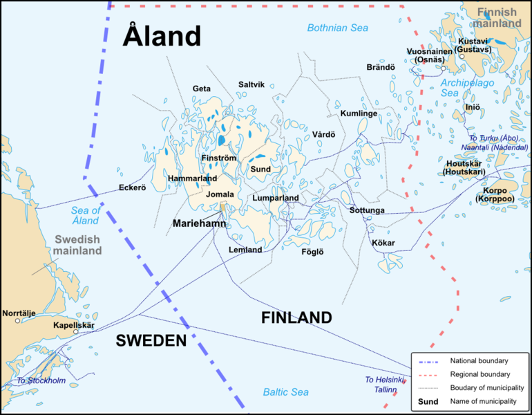The Aland Islands in the Baltic Sea between Sweden and Finland. Source: https://en.wikivoyage.org/wiki/File:Åland_Political_Map-en.svg via Wikimedia Commons