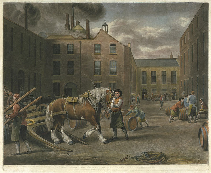A View from the East-End of the Brewery Chiswell Street; Schabkunstblatt about 1792. Painted by G(eorge) Garrard. Engrav'd by W. Ward bzw. by R(ichar)d Earlom. Published ... 1792 by G. Garrard & W. Ward bzw. London, ... 1791 by John & Josiah Boydell. Via Wikimedia Commons