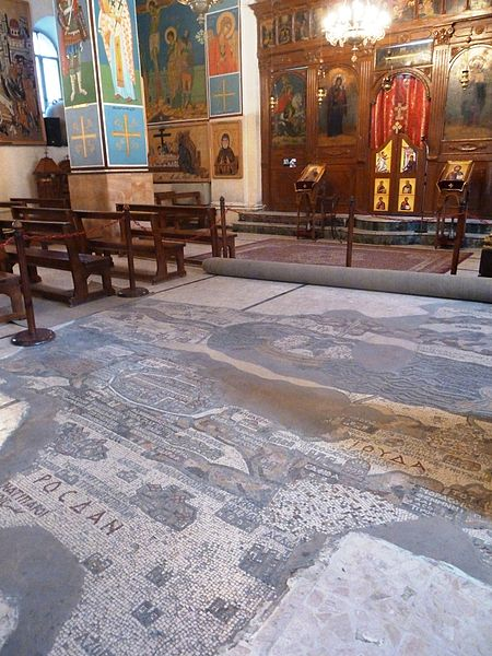 Byzantine floor mosaic map at St. George Church, Madaba, Jordan. Photo by Deror AVi via Wikimedia Commons