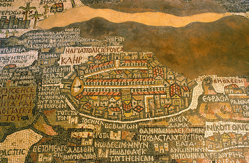 Close up of the Madaba Map. Photo by JoTB via Wikimedia Commons