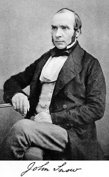 Dr. John Snow (1813-1858), British physician. Photo via Wikimedia Commons