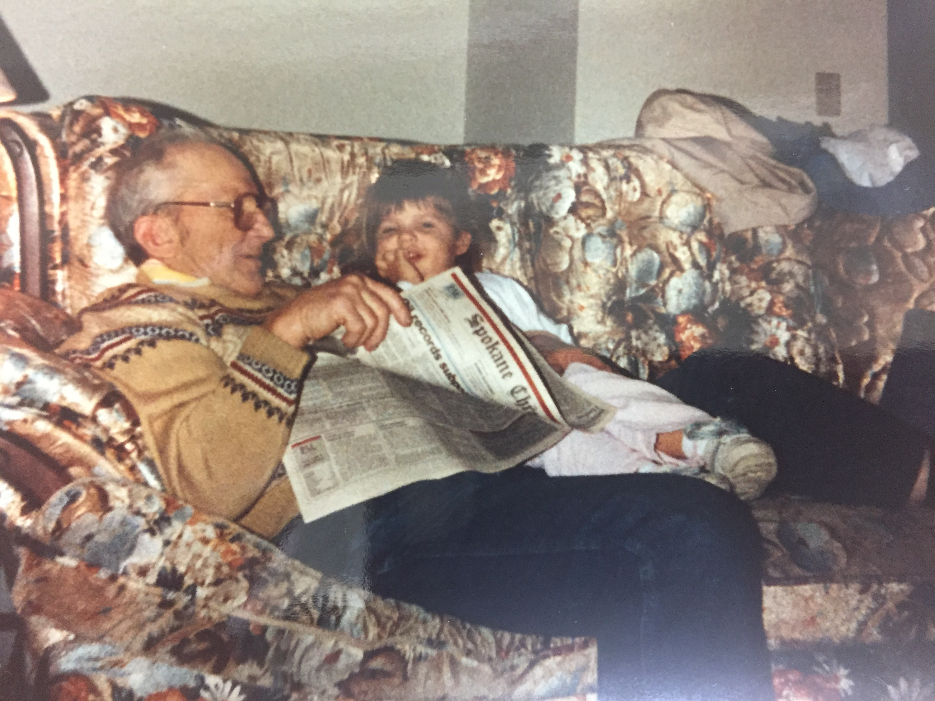 Stanley Zobel with his great-granddaughter (my daughter) Jessica in 1990. Photo by Cathy Hanson