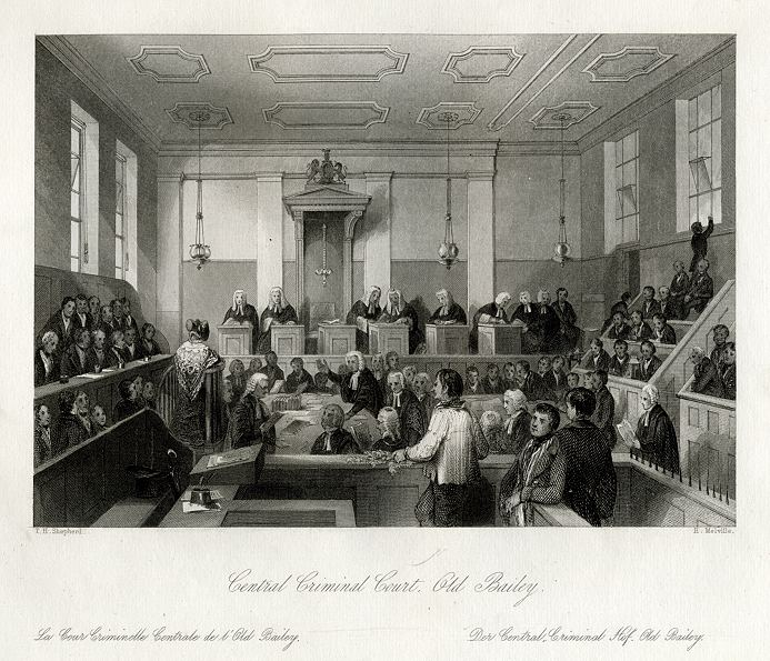 """""""Central Criminal Court. Old Bailey"""" engraved by H Melville 1845 Photo from Ancestry Images"""