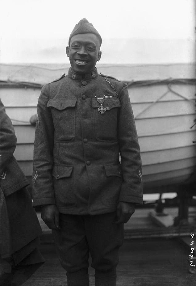 """Sergeant Henry Lincoln Johnson, 369th Infantry (""""Harlem Hellfighters""""), who single-handedly fought off a german raiding party to save his comrade, Private Needham Roberts, 1918. Photo Credit: Private Needham Roberts"""