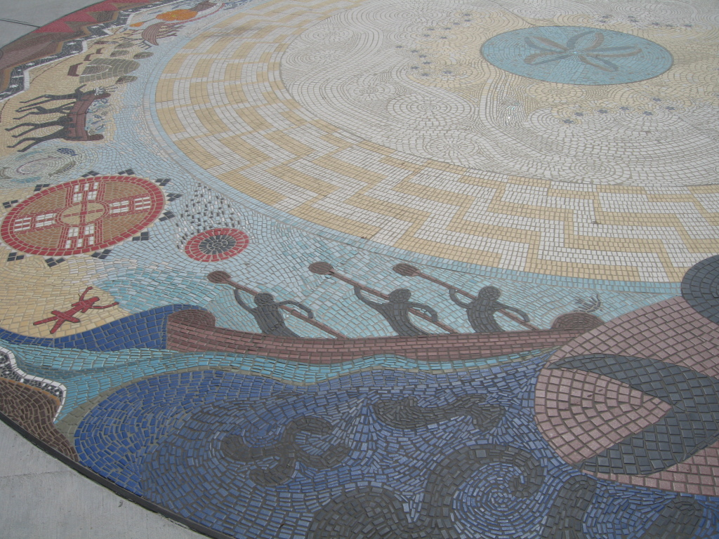 Part of the Syuxtun Story Circle mosaic in the sidewalk near the pier, Santa Barbara, CA. Photo Credit: Cathy Hanson