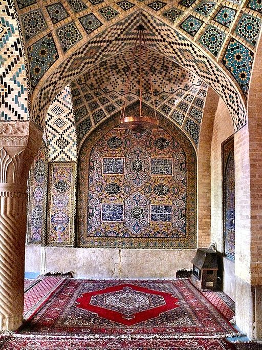 Praying room of the Nasr Ol Molk Mosque — at Shiraz, Fars province, Iran, Example of Qajar era architecture. April 2008. Photo Credit: dynamosquito