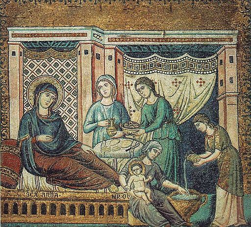 Nativity of the Virgin. 1291. Artist Pietro Cavallini. Santa Maria in Trastavere, Rome, Italy.