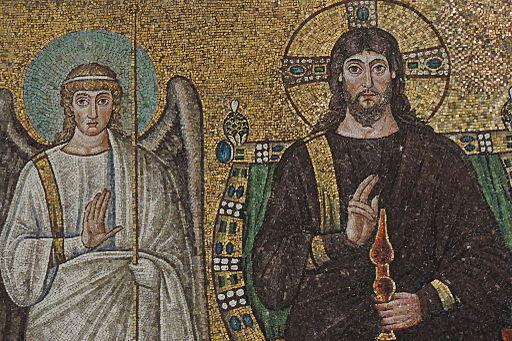 Mosaic of Christ and the angels. Basilica di Sant'Apollinare Nuovo, Ravenna, Emilia-Romagna, Italy, 6th century. Photo Credit: Mattis.