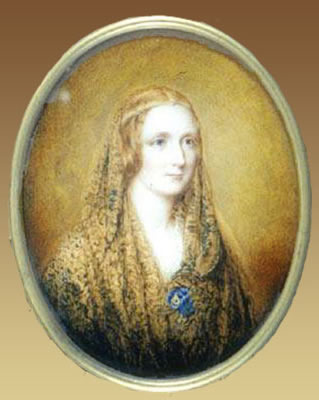 Reginald Easton painted this miniature portrait of Mary Shelley, on a flax coloured background. It incorporates a circlet backed by blue, the same seen in the Rothwell painting and a shawl. Attribution: Reginald Easton (1807-1893)