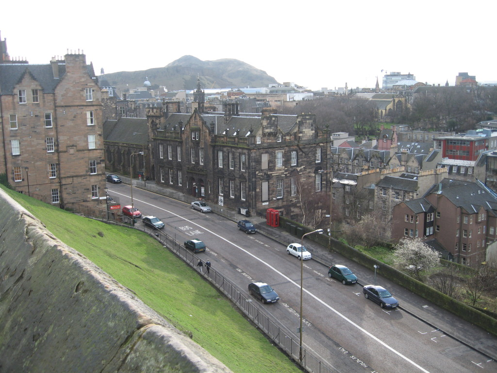 A2. View of our hostel from Edinburgh Castle