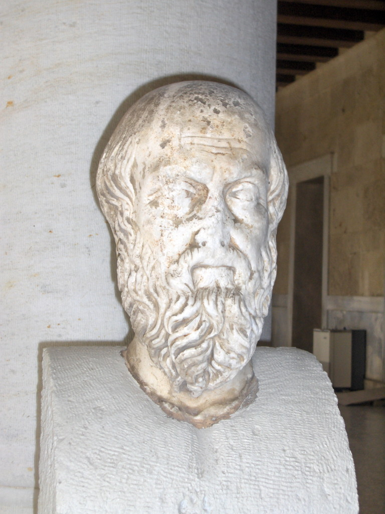 Bust of Herodotus. 2nd century AD. Roman copy after a Greek original. On display along the portico of the Stoa of Attalus, which houses the Ancient Agora Museum in Athens. Attribution: Konstantinos Stampoulis