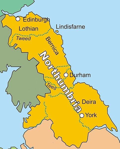 Kingdom of Northumbria in AD 802. Attribution: Finn Bjorklid