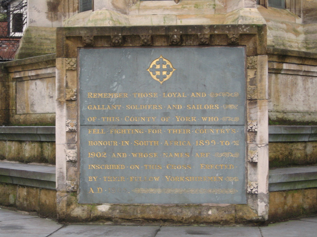 Inscription on the Boer War Memorial in York. Photo Credit: Cathy Hanson