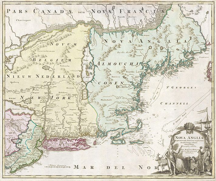 Nova Anglia 1716 by Johann Homann (1663-1724). This is a spectacular and historically important 1714 Homann map depicting New England (United States). This includes the modern day states of New York, New Jersey, Massachusetts, Connecticut, Rhode Island, Vermont, New Hampshire and Maine. Details numerous American Indian nations and coastal villages. Offers several curious errors. The Boston Harbor is absurdly large and Cape Cod is depicted as an island. On the border of Pennsylvania and New Jersey, there is a massive, mythological lake. There is also a huge lake, presumably a mis-mapping of Lake Erie, depicted in the Catskill region. Long Island is prominently shown. The elaborate title cartouche alludes the region's general abundance and rich supply of trade goods. This file was provided to Wikimedia Commons by Geographicus Rare Antique Maps, a specialist dealer in rare maps and other cartography of the 15th, 16th, 17th, 18th and 19th centuries, as part of a cooperation project.