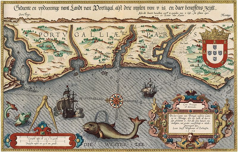 Sea map of Portugal, 1584 by Lucas Jansz Waghenaer.