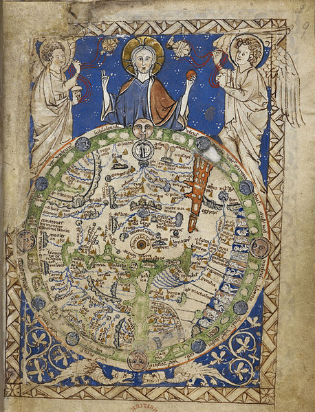 A round map of the world, set in a square ornamental frame, Jerusalem being in the centre, with a zone of winds, figures of inhabitants, etc. East is at top, the Red Sea is shown in red at upper right. Between 13th century and 15th century. This file has been provided by the British Library from its digital collections.