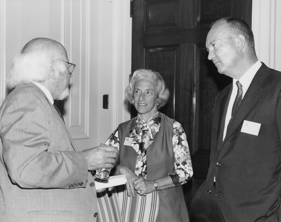 William Shirer (left), Barbara W. Tuchman (center), and John Eisenhower at the Conference on Research and World War II and the National Archives, June 14-15, 1971. The U.S. National Archives
