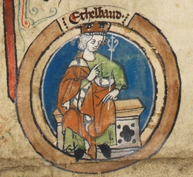 Miniature of Aethelbald of Wessex in a 14th century royal genealogy.