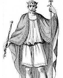 Ethelwulf of Wessex. An imaginary portrait by an unknown 18th century artist.
