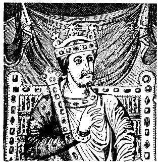 Charles the Bald. After a dedicational image in Codex aureus in Regensburg, written year 870 by his command.