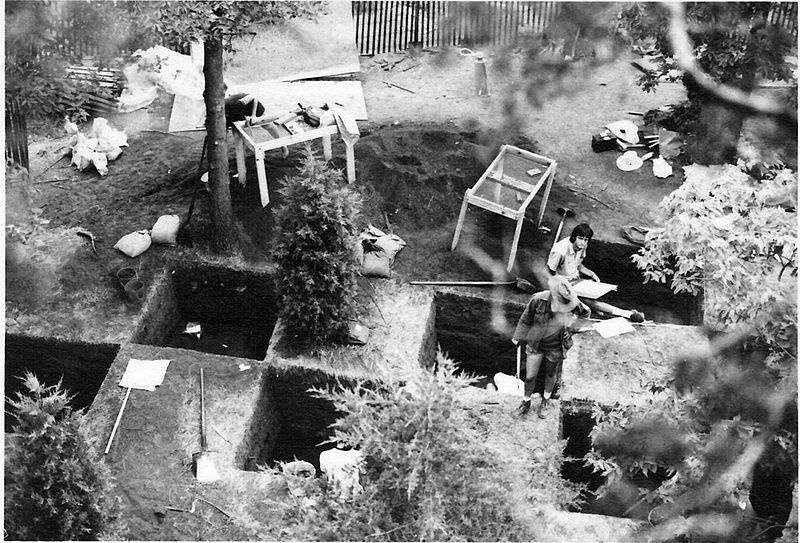 View of archeological dig on the top of Starved Rock. Starved Rock State Park, Illinois USA. Summer 1974. Author: North8000