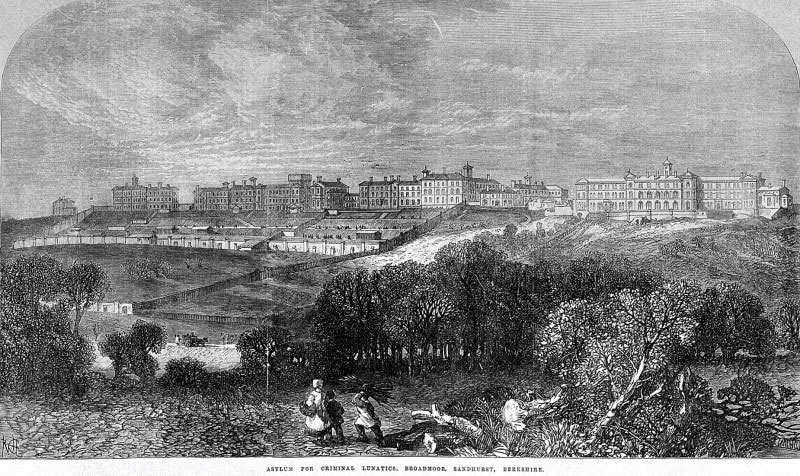 Asylum for Criminal Lunatics, Broadmoor, Sandhurst, Berkshire. Printed in Illustrated London News 1867. Attribution: http://wellcomecollection.wordpress.com/2010/11/19/the-mad-the-bad-and-the-greater-good/