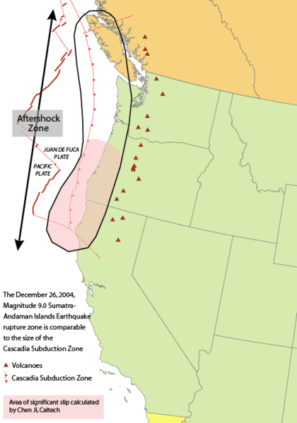 Cascadia subduction zone. This is the site of recurring en:megathrust earthquakes at average intervals of about 500 years, including the Cascadia Earthquake of 1700. Photo: Wikimedia Commons