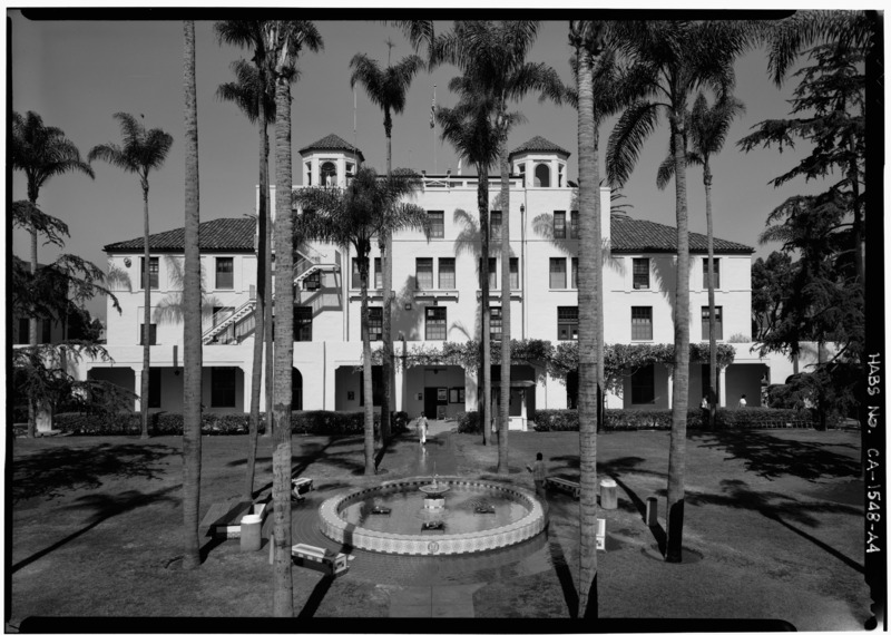EAST SIDE OVERALL - U.S. Naval Hospital, Administration Building, Park Boulevard, Balboa Park, San Diego, CA. Photo: Library of Congress Prints and Photographs Division Washington, D.C. 20540 USA