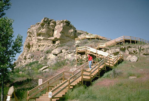 Stairs at Pompeys Pillar National Monument, Montana. Photo: Bureau of Land Management via Wikimedia Commons