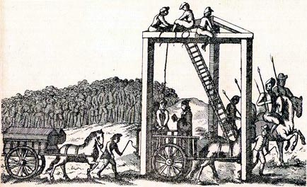 "WORK 16/376; is an illustration, said to be from about 1680, of the permanent gallows at Tyburn, which stood where Marble Arch now stands. This necessitated a three-mile cart ride in public from Newgate prison to the gallows. Huge crowds collected on the way and followed the accused to Tyburn. They were used as the gallows for London offenders from the 16th century until 1759."" Photo: The National Archives (United Kingdom) via Wikimedia Commons"