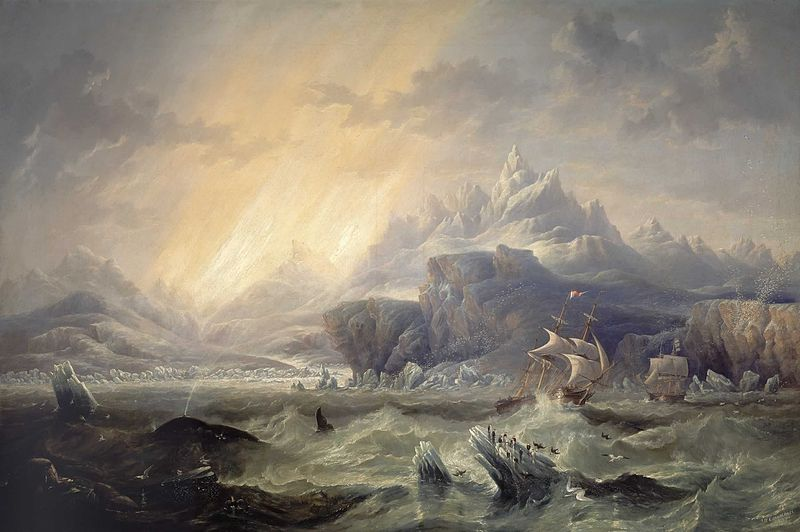 """I love this 1847 painting, """"HMS Erebus and Terror in the Antarctic"""" by John Wilson Carmichael (1800-1868).  Photo: via Wikimedia Commons"""