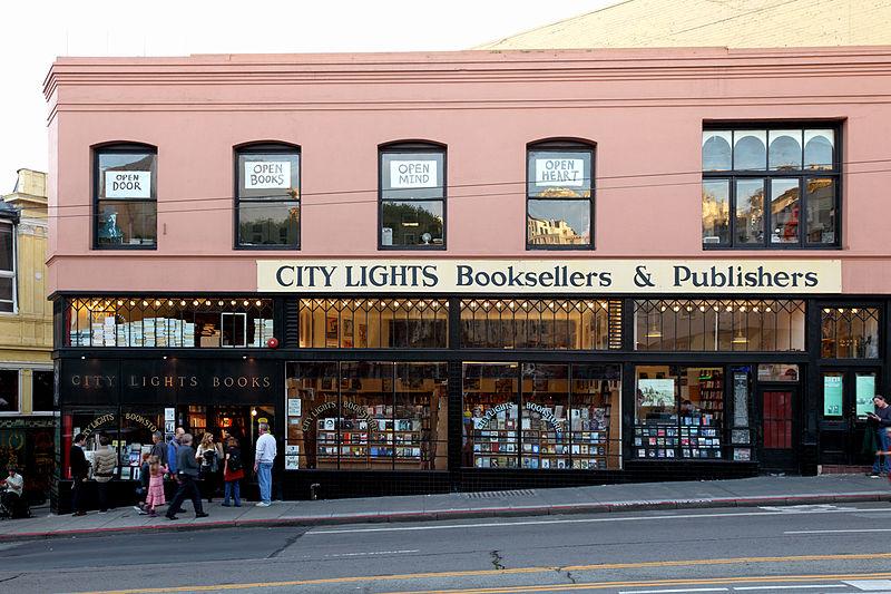 City Lights Bookstore on Columbus Avenue in San Francisco. Photo: Caroline Culler (User:Wgreaves) via Wikimedia Commons