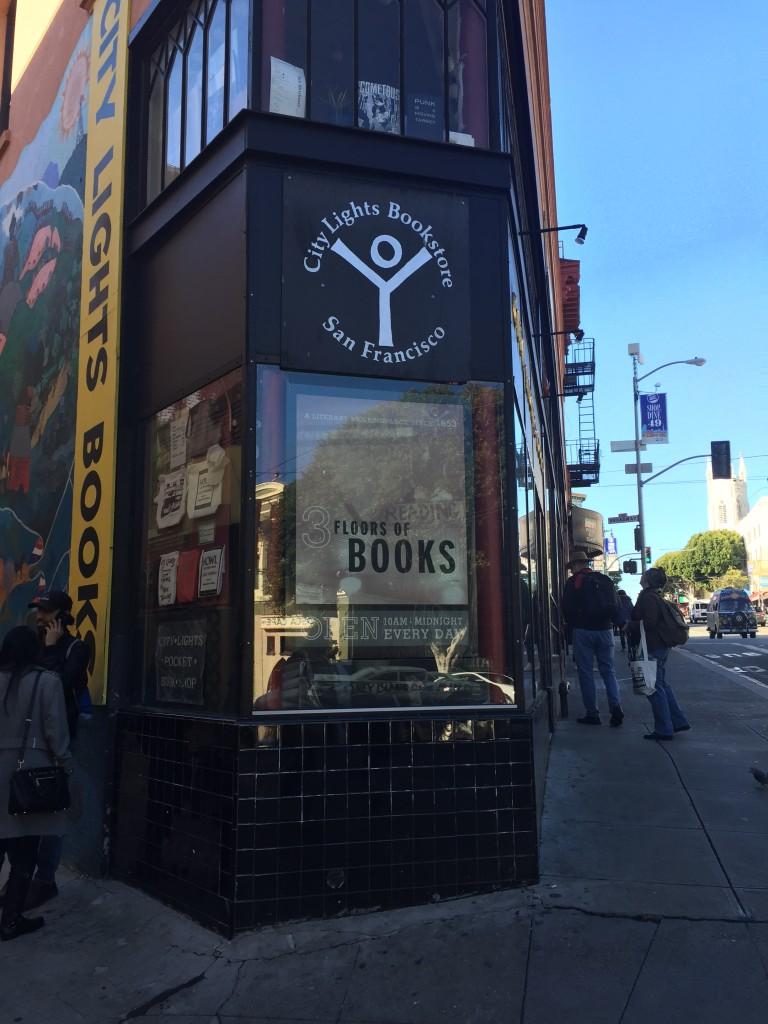 Corner of City Lights bookstore. Photo: Cathy Hanson