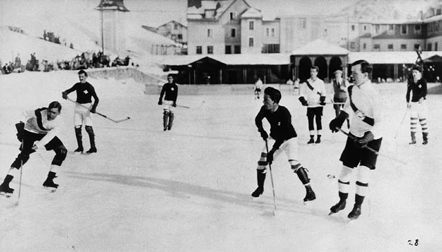 Oxford University vs. Switzerland hockey game. Lester B. Pearson is at right front, ca. 1922 - 1923 / Switzerland. Photo Credit: Library and Archives Canada / PA-119892 via Wikimedia Commons