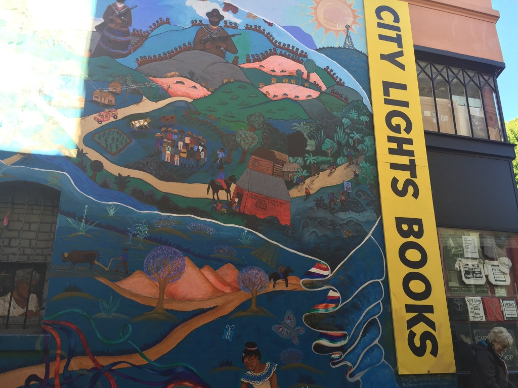 Mural behind City Lights bookstore. Photo: Cathy Hanson