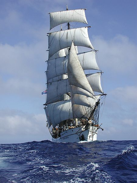 The Picton Castle Under Full Sail. Photo via Wikimedia Commons.