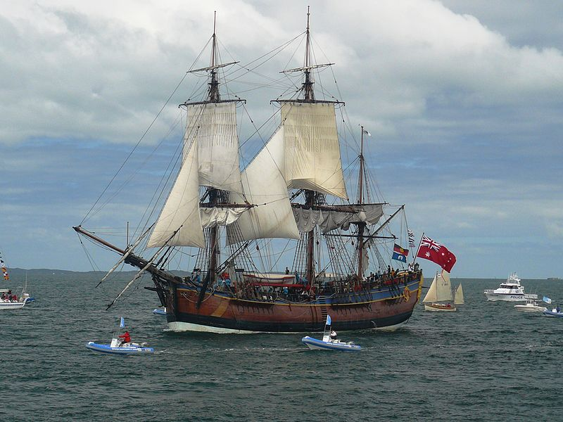 HM Bark Endeavour, Entering the Port of Fremantle, 12-10-2011. Photo by John M Wheatley via Wikimedia Commons.