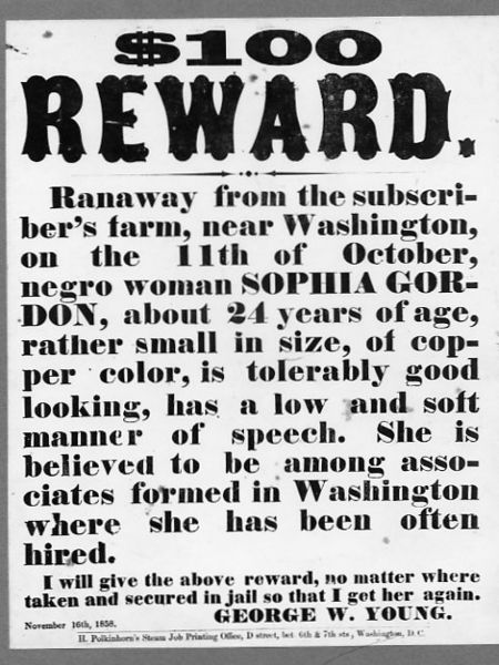 1858 poster advertising $100 reward for runaway slave, Washington D.C. Photo via Wikimedia Commons