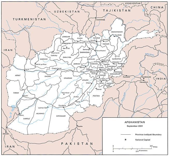 US Army map of Afghanistan -- circa 2001-09. Photo via Wikimedia Commons