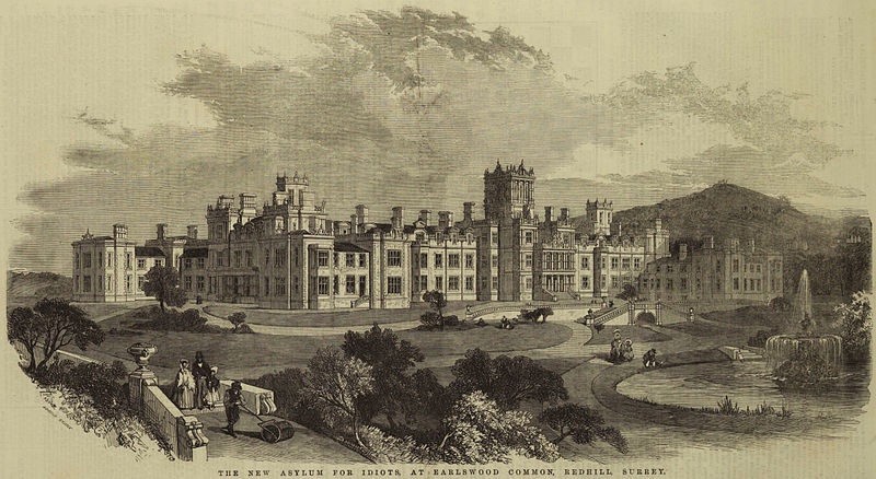 """""""The New Asylum For Idiots"""" Royal Earlswood Hospital engraving by Edmund Evans (1826 – 1905), via Wikimedia Commons."""