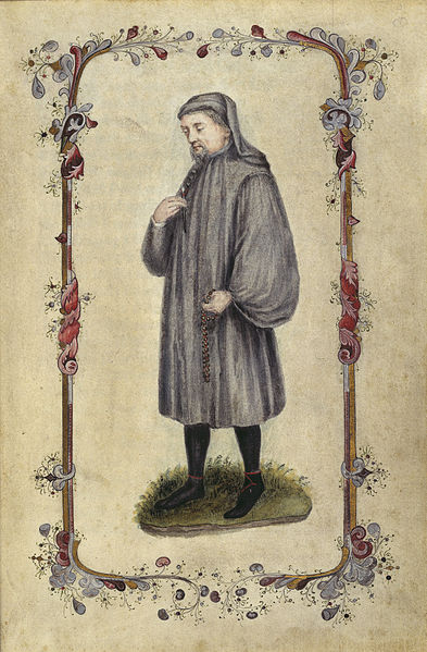 Geoffrey Chaucer (c.1345-1400). English poet. Coloured full figure portrait. This image has been added to the Caxton edition and dates to the eighteenth century. This file has been provided by the British Library from its digital collections via Wikimedia Commons