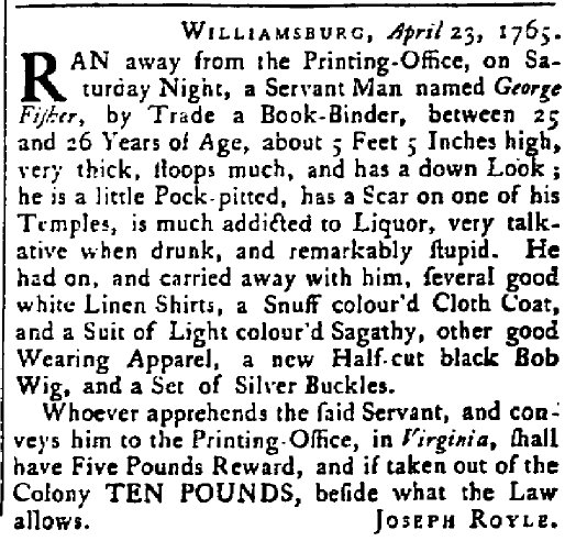 Runaway slave advertisement, Maryland Gazette for May 2, 1765. Photo via Wikimedia Commons.