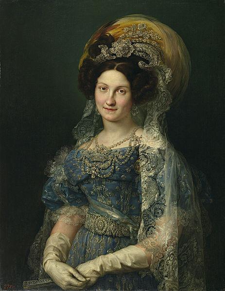 María Cristina de Borbón-Dos Sicilias by Vicente López y Portaña (1772-1850), painted 1830, currently in the Prado Museum. Photo via Wikimedia Commons.