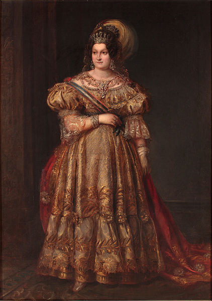 María Cristina of Bourbon by Valentín Carderera in 1831, currently in the Museum of Romanticism (Madrid). Photo via Wikimedia Commons.