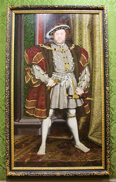 """Portrait of King Henry VIII. Workshop of Hans Holbein the Younger (1497/8-1543). No. 1350."". Walker Art Gallery, Liverpool, UK. Photo:  Mike Peel (www.mikepeel.net) via Wikimedia Commons"