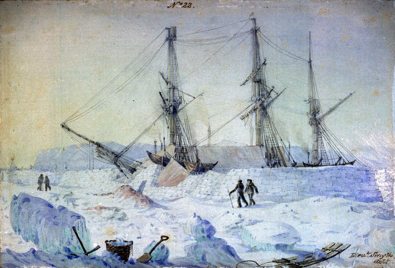 HMS Terror : view of the Port side of the ship with an effect of sunrise in February 1837 and shewing the state of the snow walls at that time. Artist William Smyth (1800-1877). Photo via Wikimedia Commons